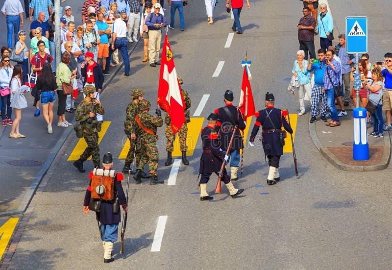 Viering van de Zwitserse Nationale Dag in de stad van Z?rich, Zwitserland royalty-vrije stock afbeeldingen