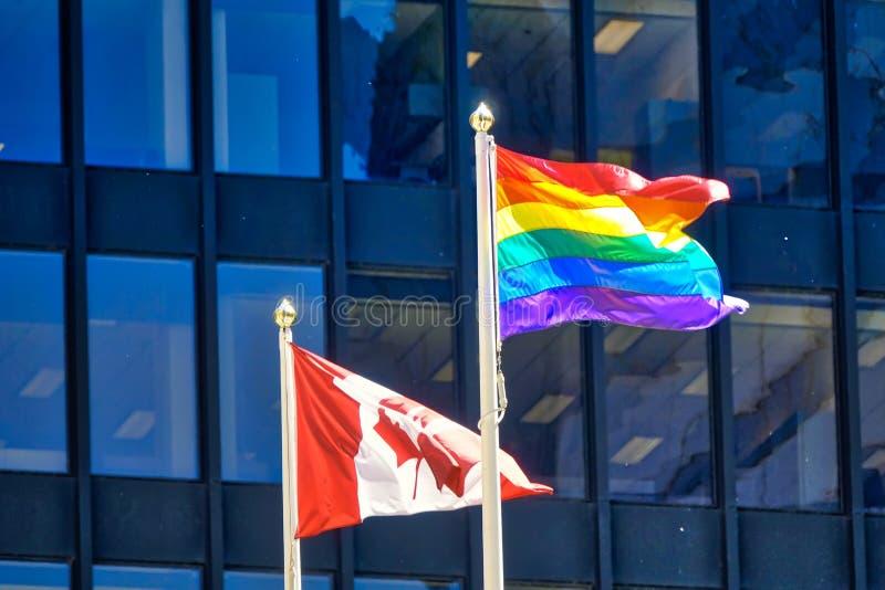 Viering van Homosexueel en LGBTQ-rechten op vertoning in Toronto de stad in, royalty-vrije stock foto's