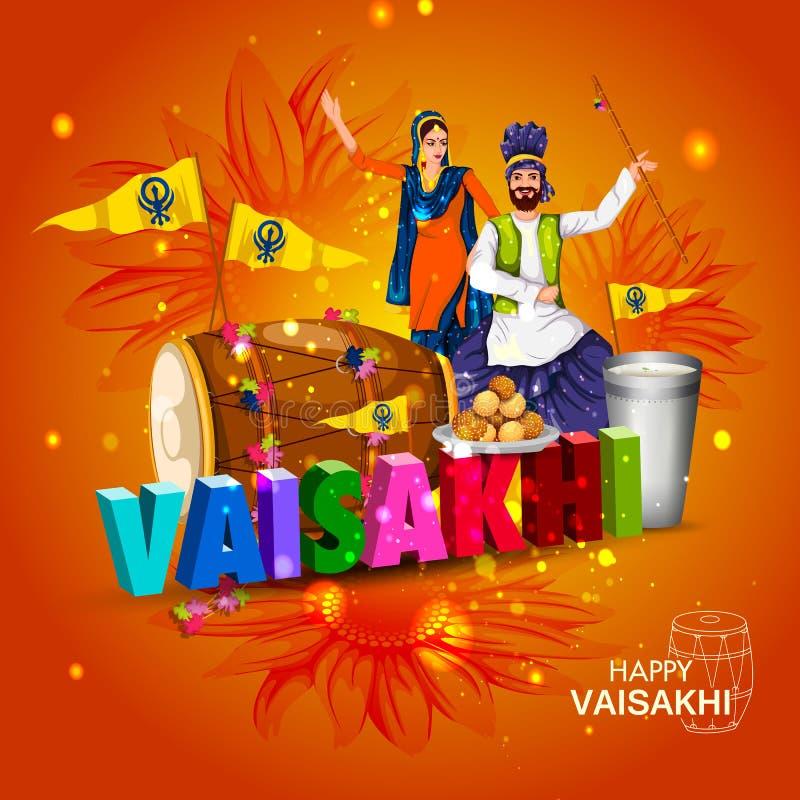 Viering van Punjabi-de achtergrond van festivalvaisakhi royalty-vrije illustratie