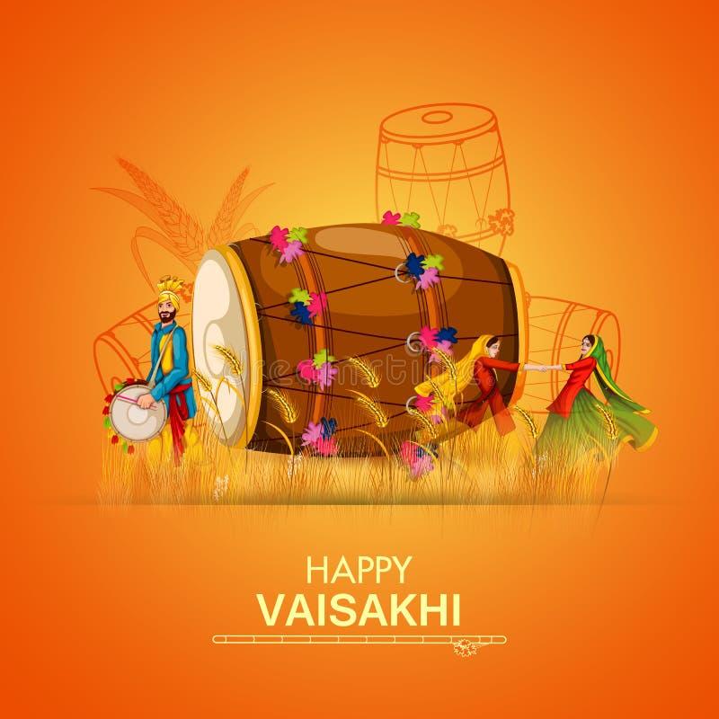 Viering van Punjabi-de achtergrond van festivalvaisakhi stock illustratie