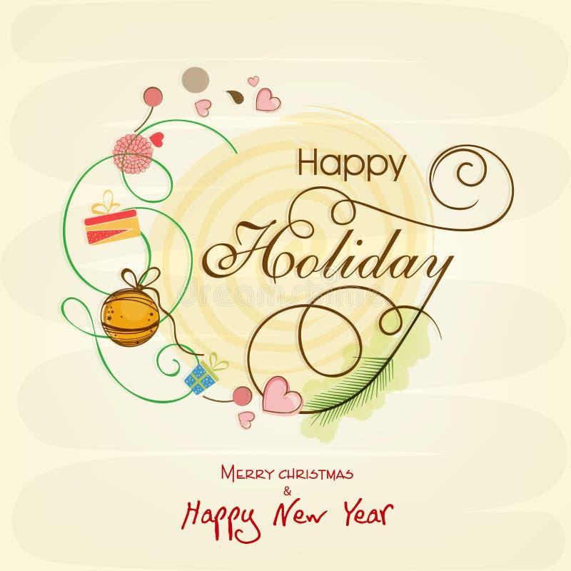 Vieringen van Gelukkige Vakantie, Vrolijk Kerstmis en Nieuwjaar vector illustratie