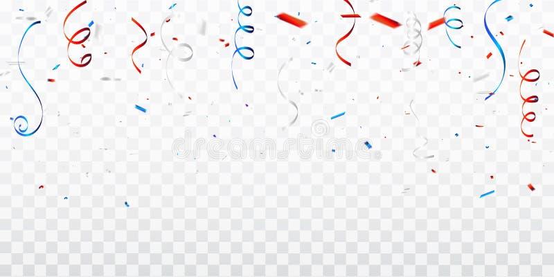 Vierings achtergrondmalplaatje met confettien en rode en blauwe linten vierde van Amerikaanse Gelukkige de Onafhankelijkheidsdag  royalty-vrije illustratie