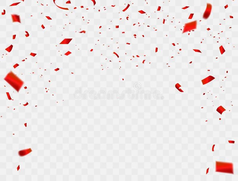 Vierings achtergrondmalplaatje met confettien en rode linten luxe die rijke kaart begroeten stock illustratie