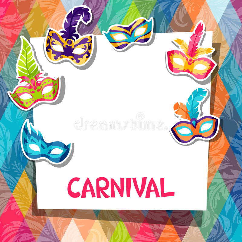 Vierings feestelijke achtergrond met Carnaval-maskers royalty-vrije illustratie