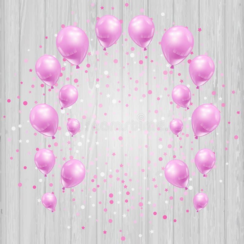 Vieringsachtergrond met roze ballons en confettien vector illustratie