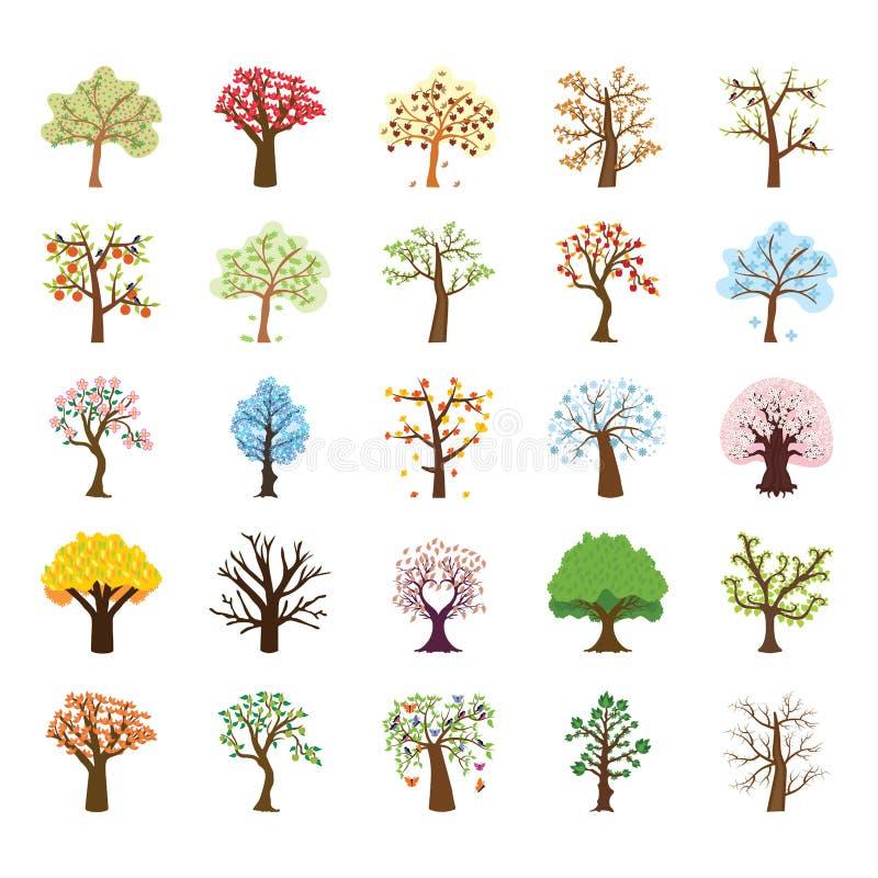 Vierjahreszeitenbaum-flache Vektor-Ikonen eingestellt lizenzfreie abbildung