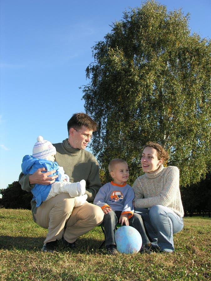 Vierköpfige Familie auf Gras lizenzfreie stockfotos