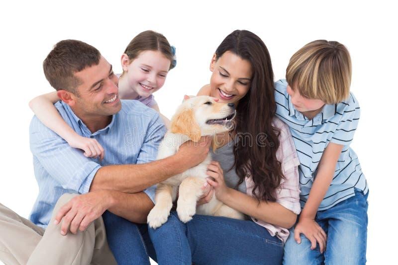 Vierköpfige Familie, die mit Hund spielt stockbilder