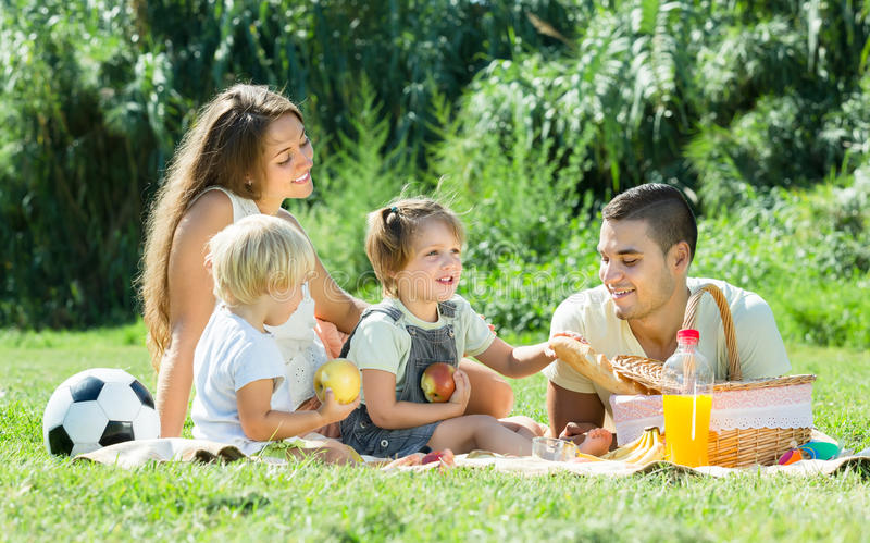 Vierköpfige Familie, die Picknick hat lizenzfreies stockfoto