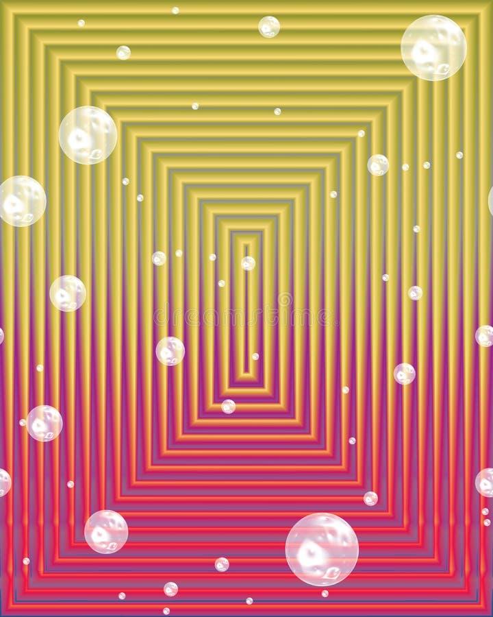Vierkant abstract beeld in gouden tinten met bellen vector illustratie