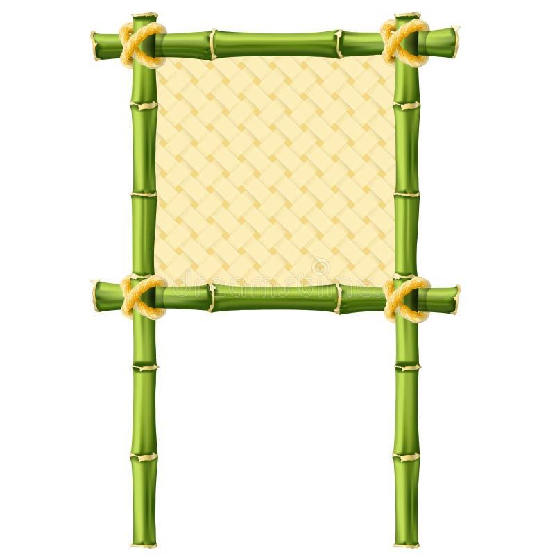 Vierkant bamboekader met rieten achtergrond royalty-vrije illustratie