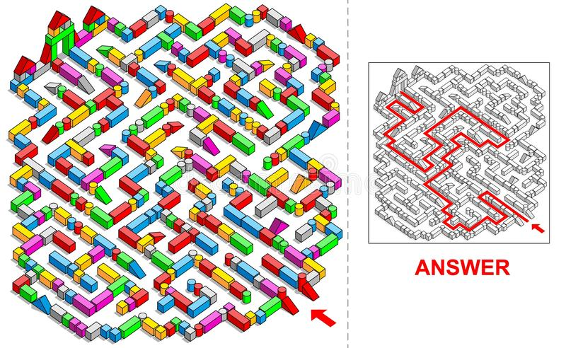 (Vierkant) bouwstenenlabyrint royalty-vrije illustratie