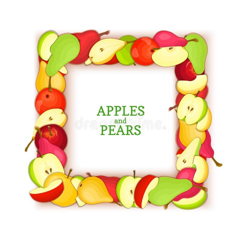 Vierkant die kader uit het heerlijke fruit van de perenappel wordt samengesteld Vectorkaartillustratie De vruchten van het de app royalty-vrije illustratie