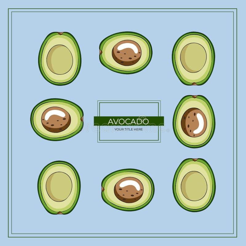 Vierkant die kader van groene avocadoplakken wordt gemaakt op een blauwe achtergrond stock illustratie