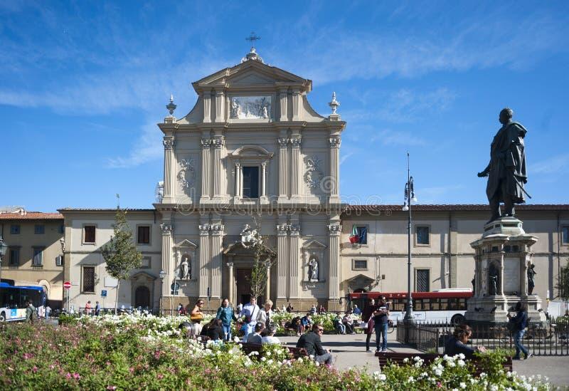 Vierkant en kerk San Marco in Florence royalty-vrije stock foto