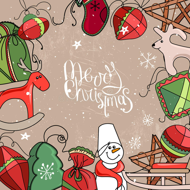Vierkant feestelijk kader met Kerstmisdecor royalty-vrije illustratie