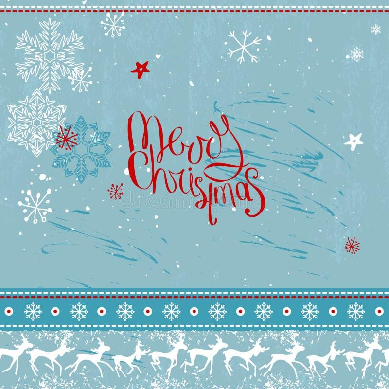 Vierkant feestelijk kader met uitdrukkings Vrolijke Kerstmis vector illustratie