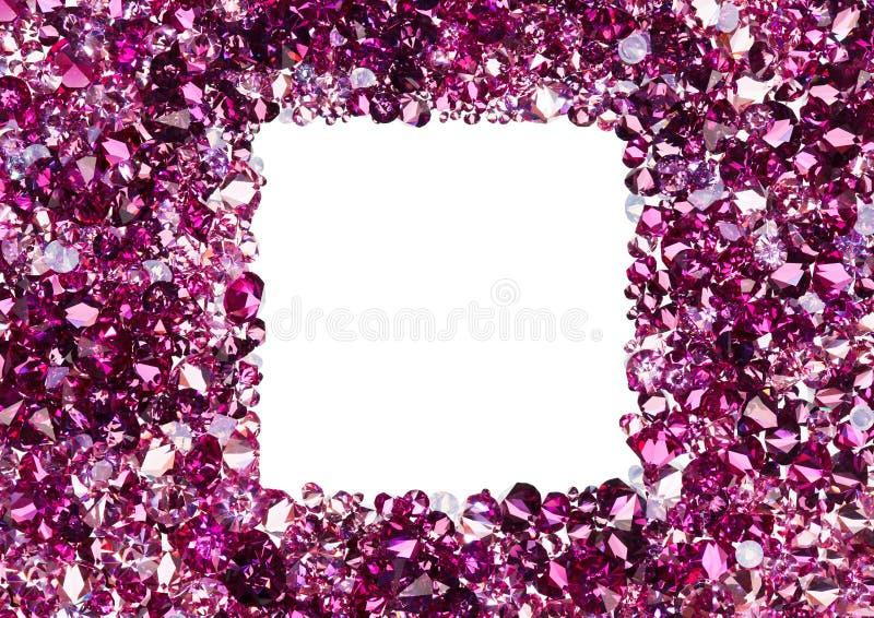Vierkant frame dat van vele kleine robijnrode diamanten wordt gemaakt royalty-vrije stock afbeeldingen