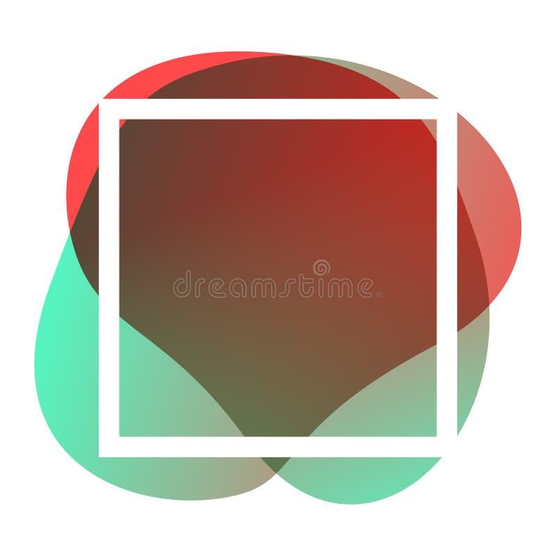 Vierkant frame wit op rode groene blob vormen geometrisch voor bannerachtergrond, eenvoudige vloeibaar vlekpenseel vlakke vlek vo vector illustratie