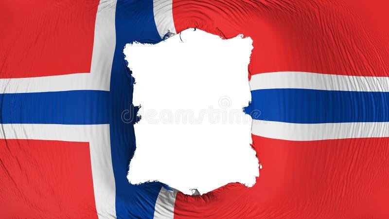 Vierkant gat in de vlag van Noorwegen stock illustratie