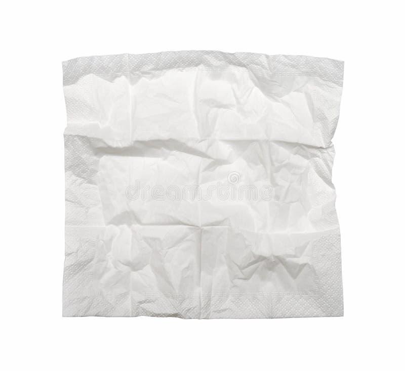 Vierkant gebruikt die servet, op wit wordt geïsoleerd stock foto