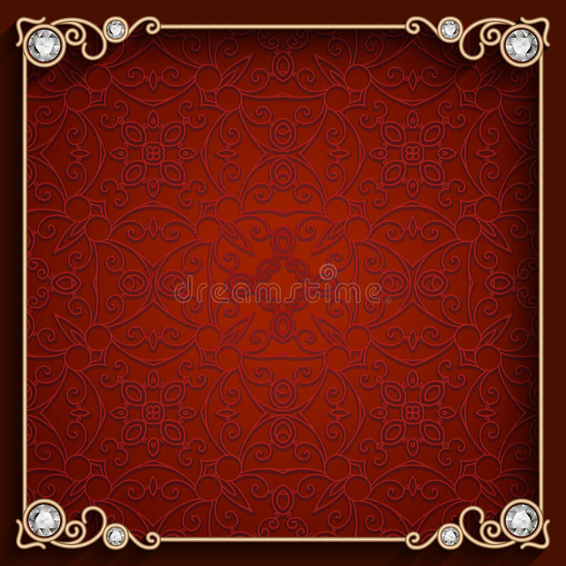 Vierkant gouden juwelenkader stock illustratie