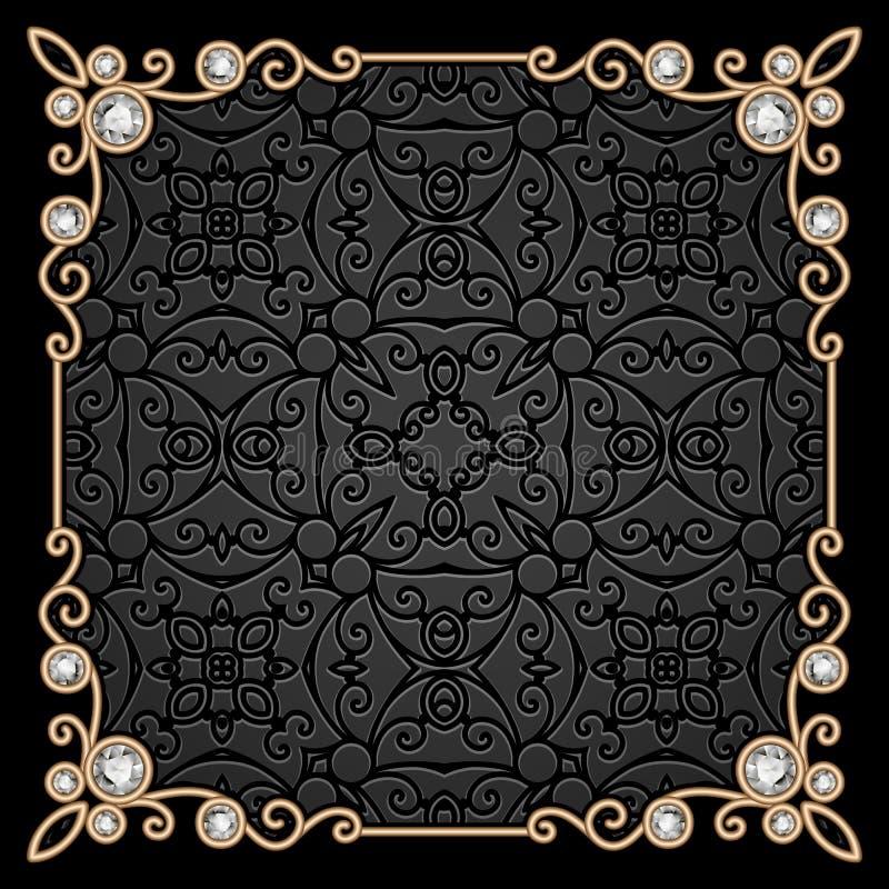 Vierkant gouden juwelenkader vector illustratie