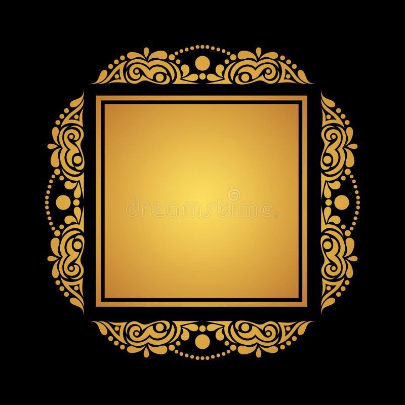 Vierkant gouden kader op zwarte achtergrond voor kaarten, uitnodigingen, po stock foto's