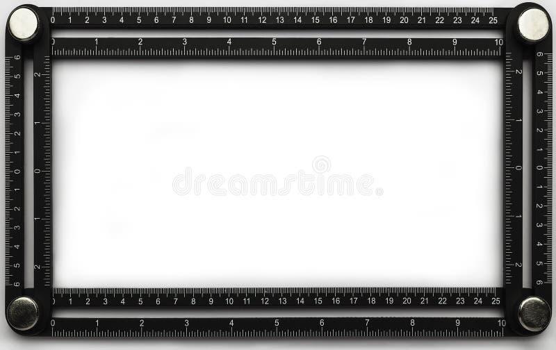 Vierkant heersershulpmiddel op geïsoleerde achtergrond stock afbeeldingen