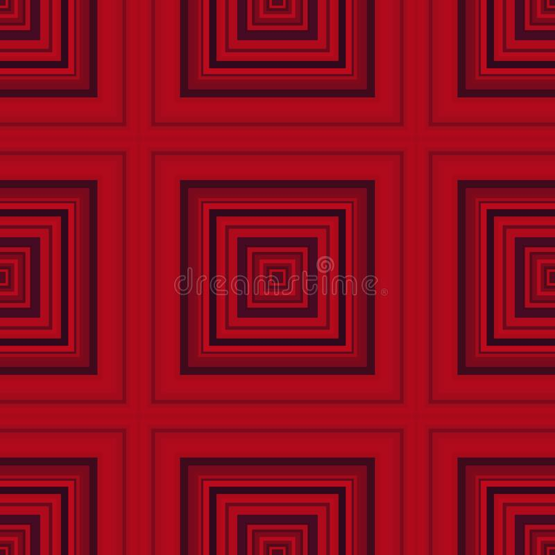 Vierkant hypnotic patroon, geometrische illusie herhaalde kunst royalty-vrije illustratie