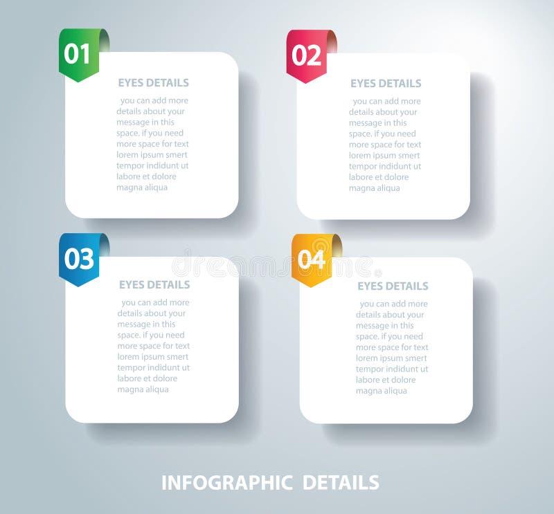 Vierkant informatie grafisch Vectormalplaatje met 4 opties Kan voor Web, diagram, grafiek, presentatie, grafiek, rapport worden g stock illustratie