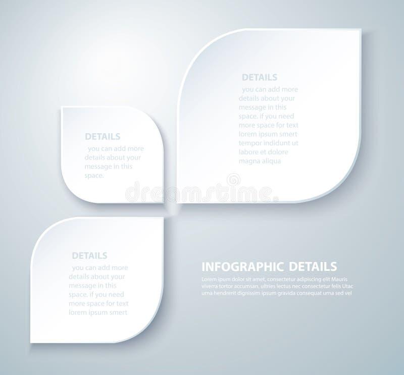 Vierkant informatie grafisch Vectormalplaatje met 3 opties Kan voor Web, diagram, grafiek, presentatie, grafiek, rapport worden g vector illustratie