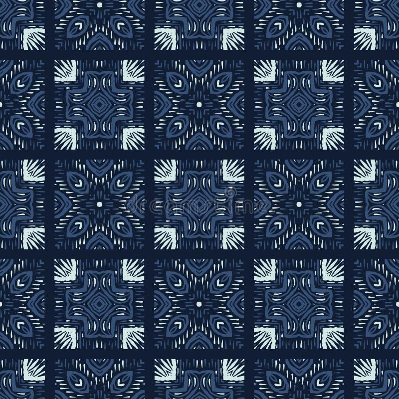 Vierkant Japans de Stijl Naadloos Vectorpatroon van het Lapwerkmotief Getrokken hand royalty-vrije illustratie