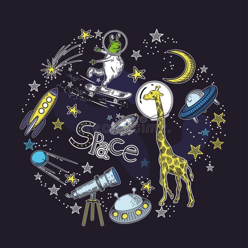 Vierkant kaartmalplaatje met het beeld van kosmische elementen Cirkelsamenstelling Ruimtevoorwerpen stock illustratie