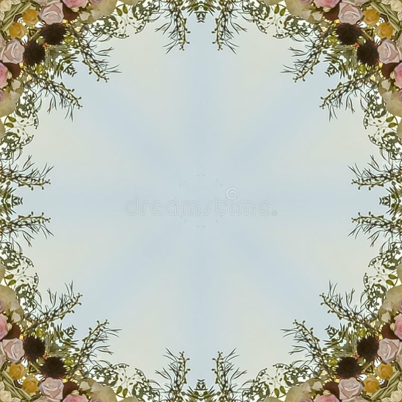 Vierkant kader Cirkel hoekig bloemendieontwerp van huwelijksbloemen bij zonsondergang wordt gemaakt stock illustratie