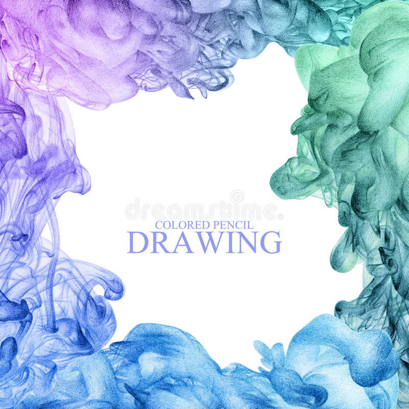 Vierkant kader met abstracte die wolk van inkt met de hand met kleur wordt getrokken royalty-vrije illustratie