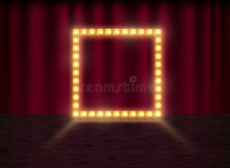 Vierkant kader met gloeiende glanzende gloeilampen, vectorillustratie Glanzende partijbanner op rood gordijnachtergrond en stadiu stock illustratie