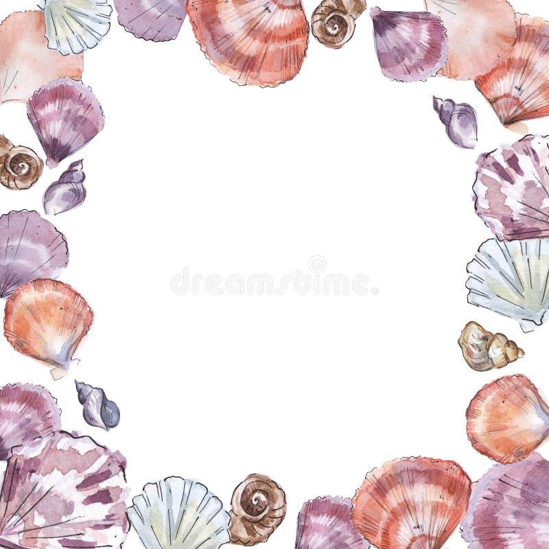 Vierkant kader met hand geschilderde overzeese shells stock illustratie