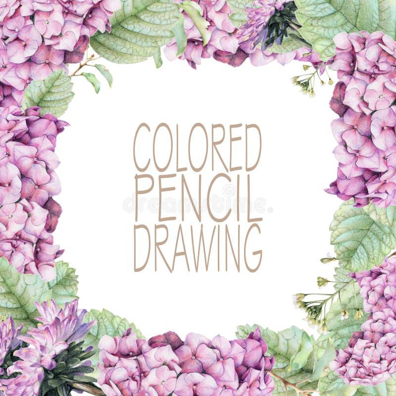 Vierkant kader met mooie de lentebloemen en installaties stock illustratie