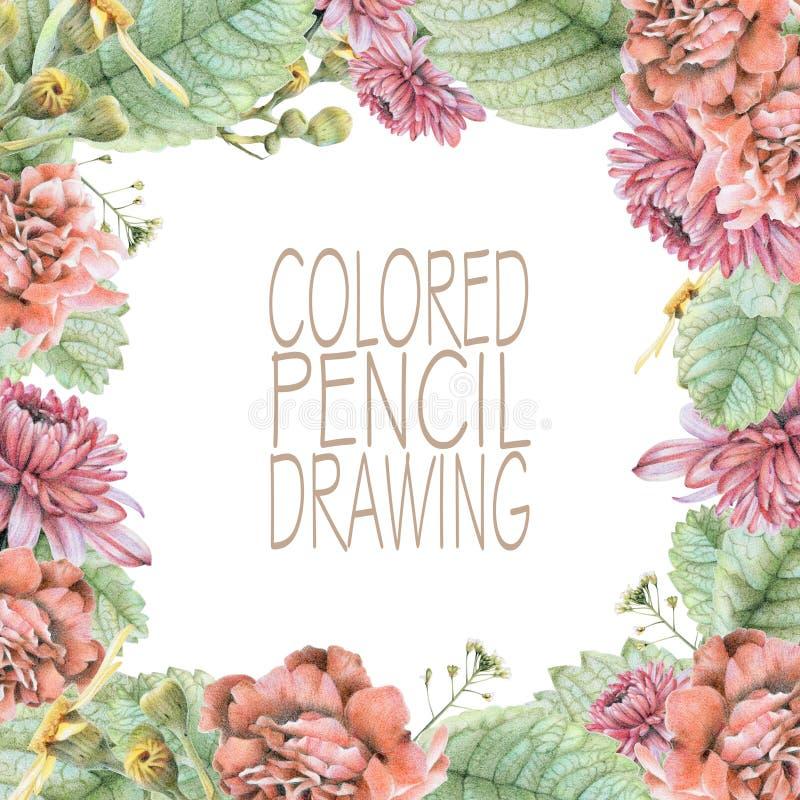 Vierkant kader met mooie de lentebloemen en installaties vector illustratie