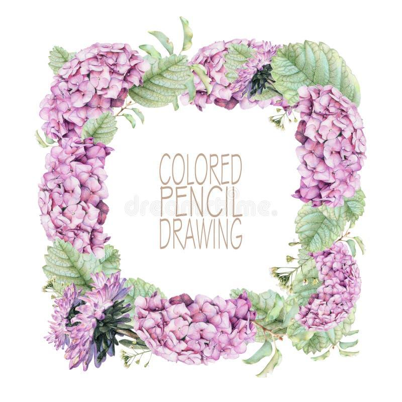 Vierkant kader met mooie de lentebloemen en installaties royalty-vrije illustratie