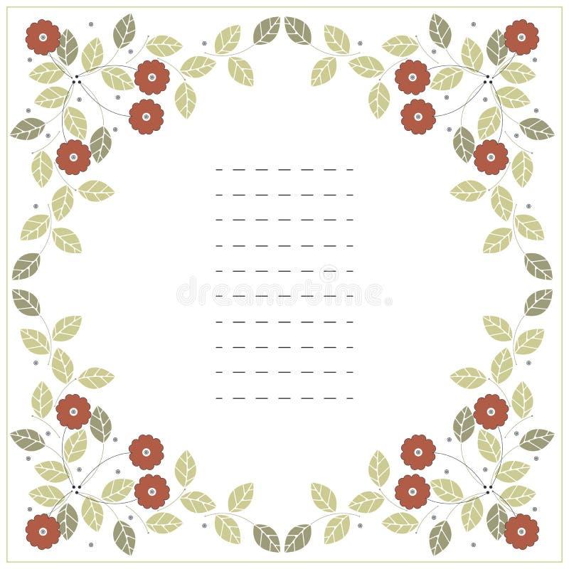 Vierkant kader met rode bloemen en groene bladeren op wit royalty-vrije illustratie