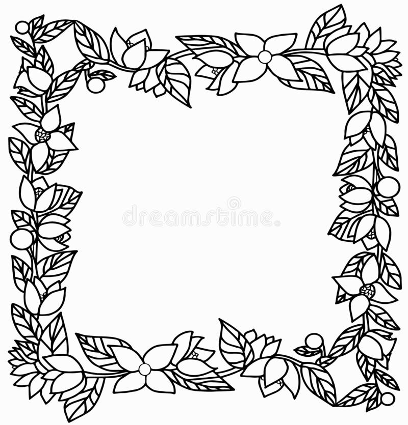 Vierkant kader met takken, bladeren, bessen en bloemen stock afbeelding