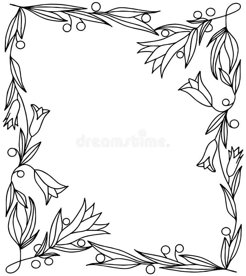 Vierkant kader met takken, bladeren, bessen en bloemenklokken stock afbeelding