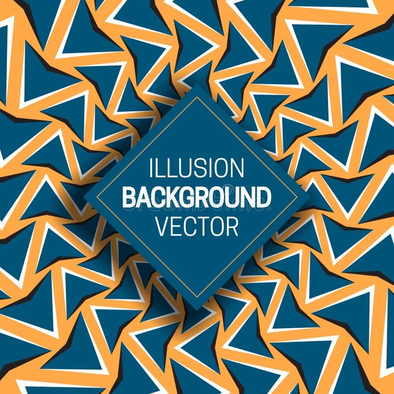 Vierkant kader op blauwe oranje optische illusieachtergrond van het bewegen van pijlenvormen stock illustratie