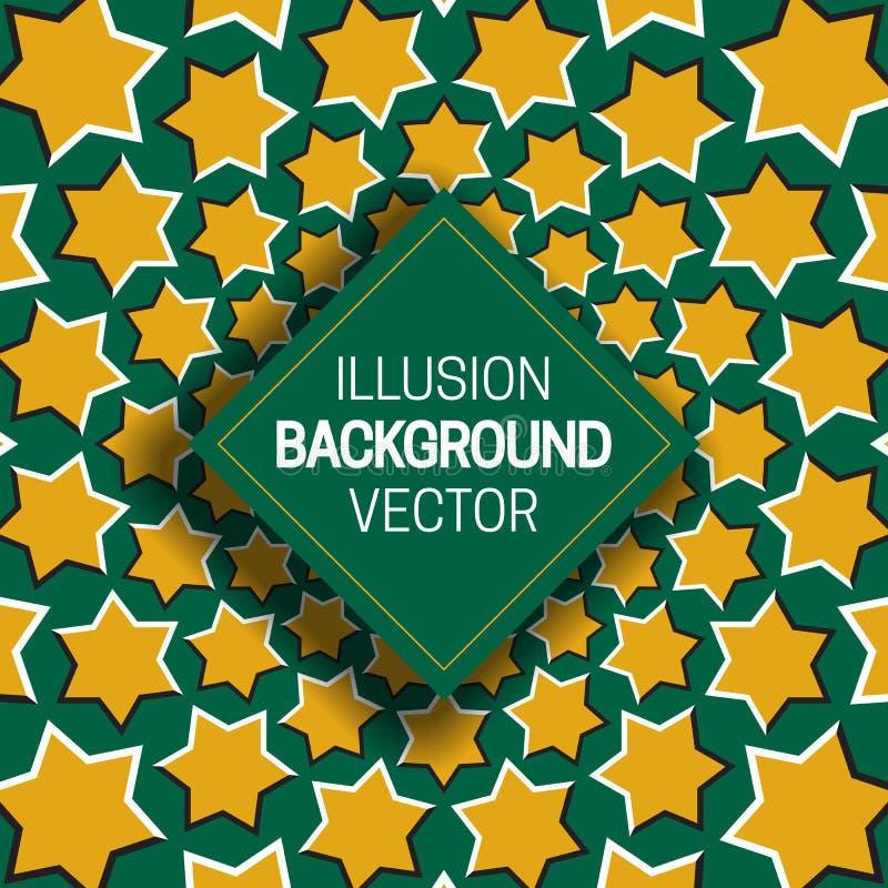 Vierkant kader op geelgroene optische illusieachtergrond van het bewegen van hexagram vormen stock illustratie
