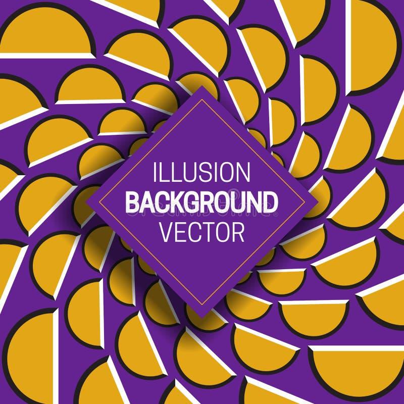Vierkant kader op gele purpere optische illusieachtergrond van het bewegen van halve cirkelsvormen stock illustratie