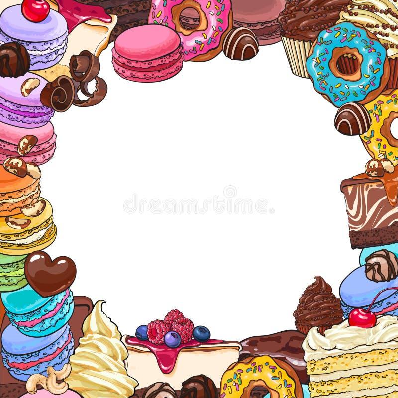 Vierkant kader van desserts en gebakjes, ronde plaats voor tekst vector illustratie