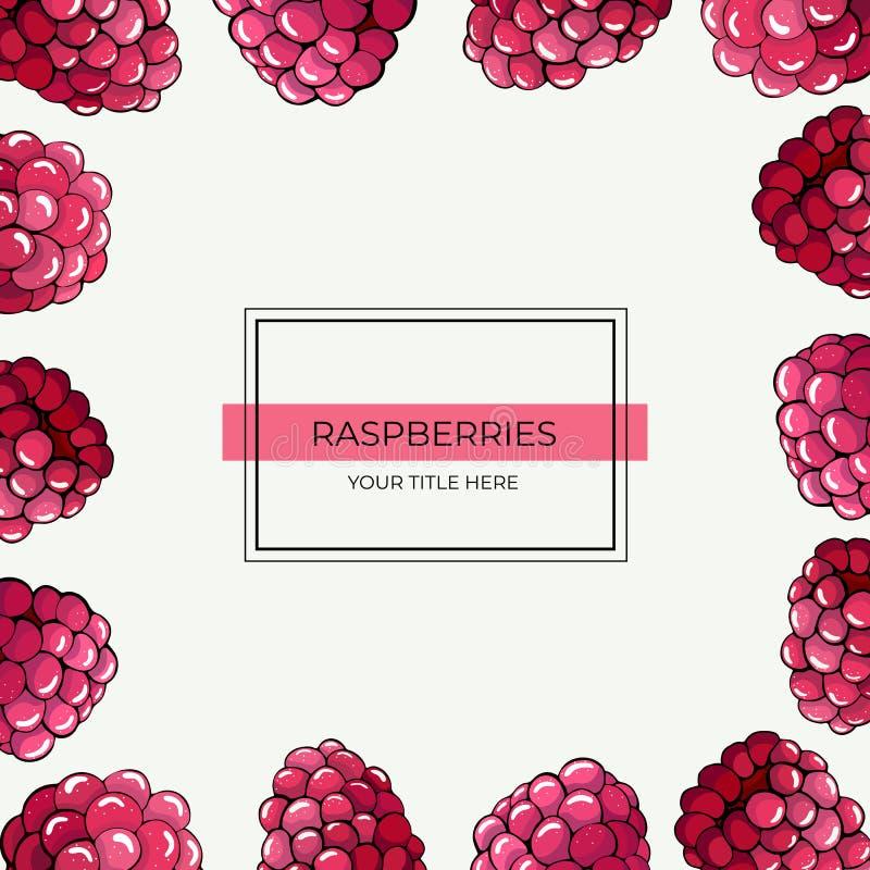 Vierkant kader van roze frambozenbessen op een witte achtergrond vector illustratie