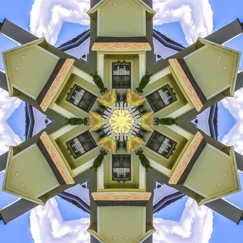 Vierkant kaderhuis voor blauwe hemelvensters en schoorsteen stock illustratie